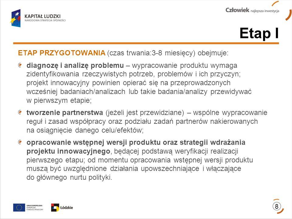 8 Etap I ETAP PRZYGOTOWANIA (czas trwania:3-8 miesięcy) obejmuje: diagnozę i analizę problemu – wypracowanie produktu wymaga zidentyfikowania rzeczywi