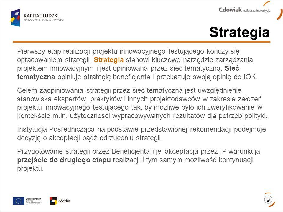 9 Strategia Pierwszy etap realizacji projektu innowacyjnego testującego kończy się opracowaniem strategii. Strategia stanowi kluczowe narzędzie zarząd