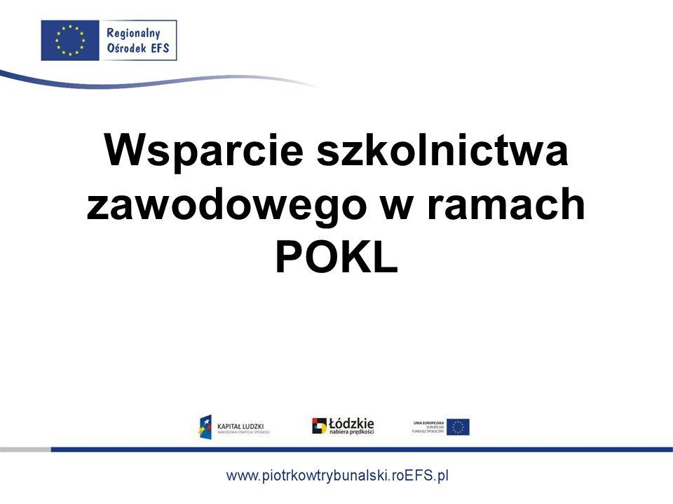 Priorytet IX PO KL Działanie 9.2 Podniesienie atrakcyjności i jakości szkolnictwa zawodowego
