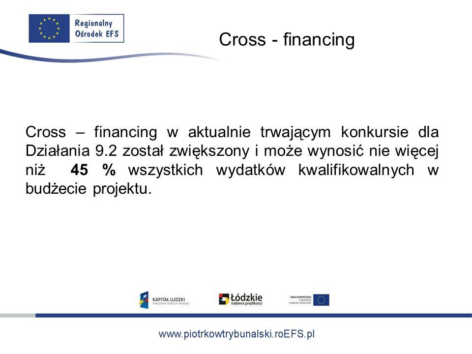 Cross - financing Cross – financing w aktualnie trwającym konkursie dla Działania 9.2 został zwiększony i może wynosić nie więcej niż 45 % wszystkich wydatków kwalifikowalnych w budżecie projektu.