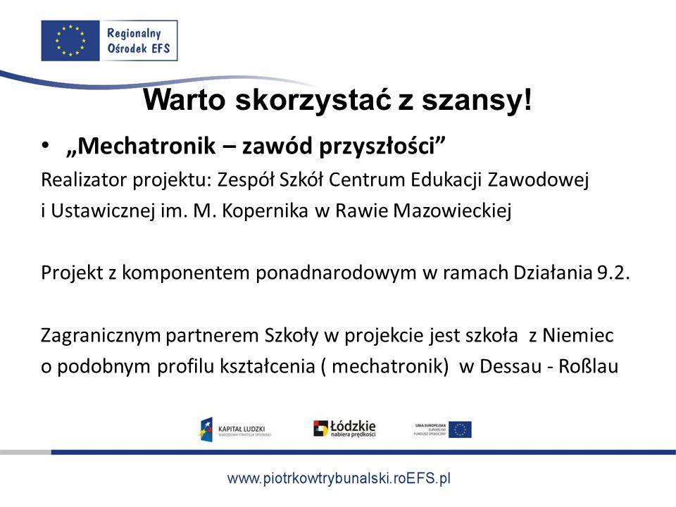 Mechatronik- zawód przyszłości Grupa docelowa- 30 uczniów Działania w projekcie- otwarcie pracowni mechatroniki w oparciu o doświadczenia partnera z Niemiec Działania w projekcie – wyjazd uczniów na staż językowy do Niemiec Działania w projekcie – wizyta studyjna nauczycieli polskich w szkole w Dessau- Roßlau Działania w projekcie – wyjazd uczniów na staż zawodowy do Niemiec – kontakt z pracodawcami Działania projektowe- platforma internetowa ułatwiająca komunikację pomiędzy partnerami