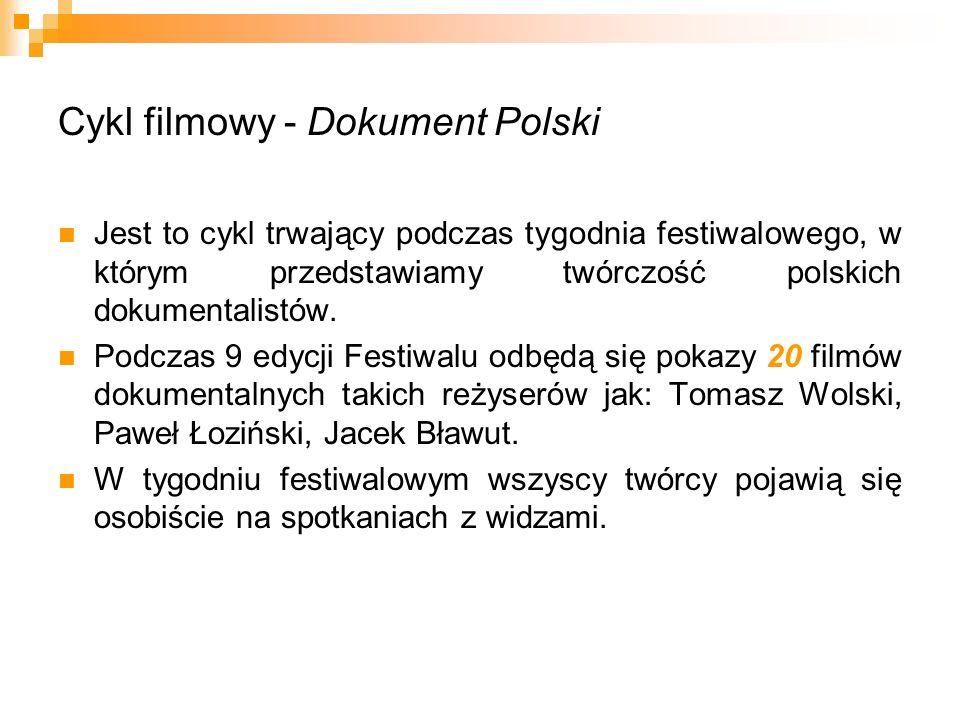 Cykl filmowy - Dokument Polski Jest to cykl trwający podczas tygodnia festiwalowego, w którym przedstawiamy twórczość polskich dokumentalistów. Podcza
