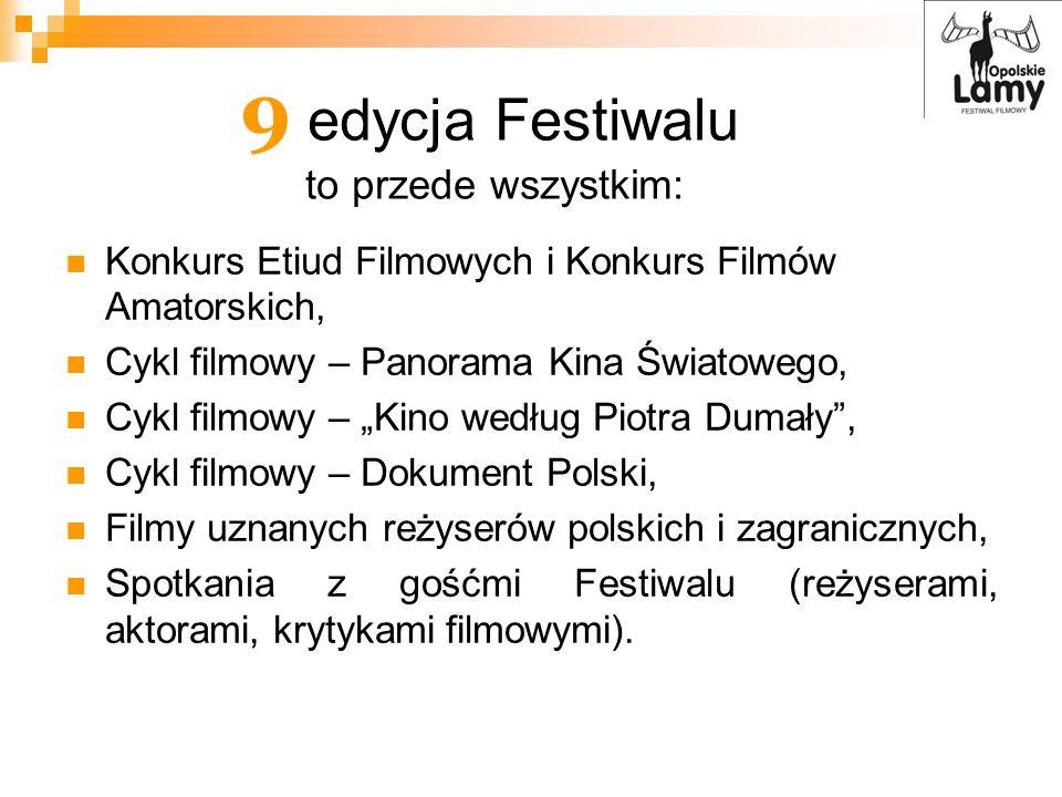 9 edycja Festiwalu to przede wszystkim: Konkurs Etiud Filmowych i Konkurs Filmów Amatorskich, Cykl filmowy – Panorama Kina Światowego, Cykl filmowy –