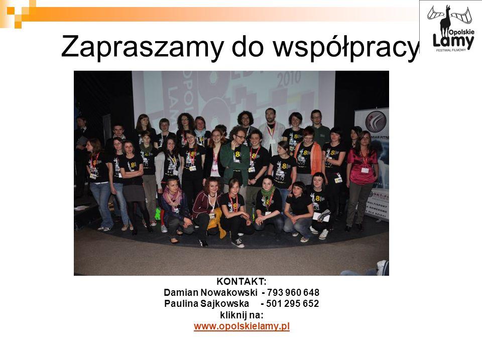 Zapraszamy do współpracy KONTAKT: Damian Nowakowski - 793 960 648 Paulina Sajkowska - 501 295 652 kliknij na: www.opolskielamy.pl