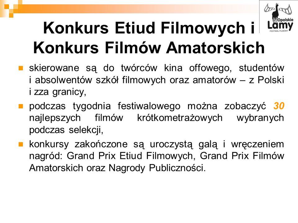 Konkurs Etiud Filmowych i Konkurs Filmów Amatorskich skierowane są do twórców kina offowego, studentów i absolwentów szkół filmowych oraz amatorów – z