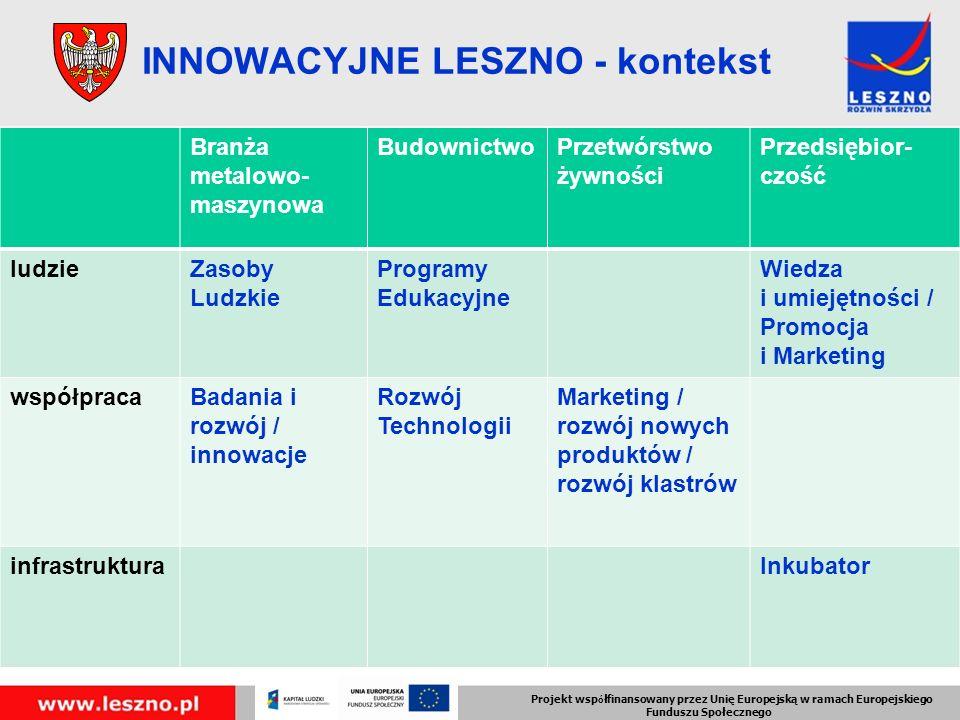 Branża metalowo- maszynowa BudownictwoPrzetwórstwo żywności Przedsiębior- czość ludzieZasoby Ludzkie Programy Edukacyjne Wiedza i umiejętności / Promocja i Marketing współpracaBadania i rozwój / innowacje Rozwój Technologii Marketing / rozwój nowych produktów / rozwój klastrów infrastrukturaInkubator Projekt wsp ó łfinansowany przez Unię Europejską w ramach Europejskiego Funduszu Społecznego INNOWACYJNE LESZNO - kontekst