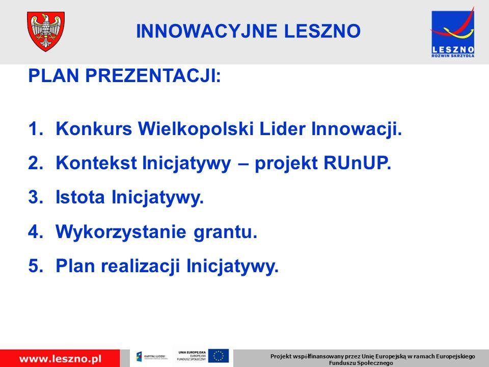 PLAN PREZENTACJI: 1.Konkurs Wielkopolski Lider Innowacji.