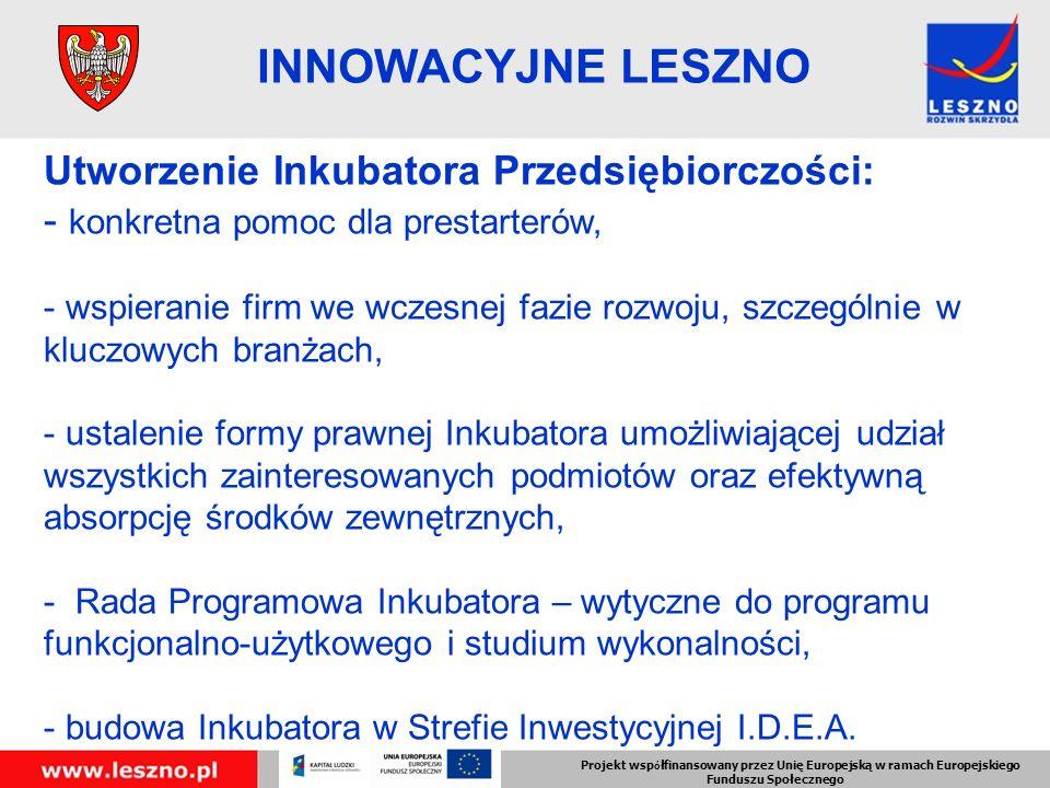 Utworzenie Inkubatora Przedsiębiorczości: - konkretna pomoc dla prestarterów, - wspieranie firm we wczesnej fazie rozwoju, szczególnie w kluczowych branżach, - ustalenie formy prawnej Inkubatora umożliwiającej udział wszystkich zainteresowanych podmiotów oraz efektywną absorpcję środków zewnętrznych, - Rada Programowa Inkubatora – wytyczne do programu funkcjonalno-użytkowego i studium wykonalności, - budowa Inkubatora w Strefie Inwestycyjnej I.D.E.A.
