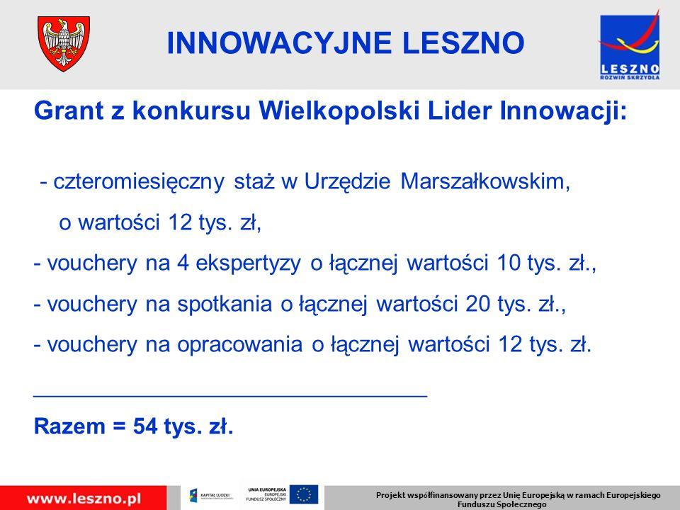 Projekt wsp ó łfinansowany przez Unię Europejską w ramach Europejskiego Funduszu Społecznego INNOWACYJNE LESZNO Grant z konkursu Wielkopolski Lider Innowacji: - czteromiesięczny staż w Urzędzie Marszałkowskim, o wartości 12 tys.