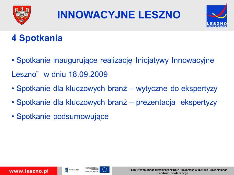 Projekt wsp ó łfinansowany przez Unię Europejską w ramach Europejskiego Funduszu Społecznego INNOWACYJNE LESZNO 4 Spotkania Spotkanie inaugurujące realizację Inicjatywy Innowacyjne Leszno w dniu 18.09.2009 Spotkanie dla kluczowych branż – wytyczne do ekspertyzy Spotkanie dla kluczowych branż – prezentacja ekspertyzy Spotkanie podsumowujące