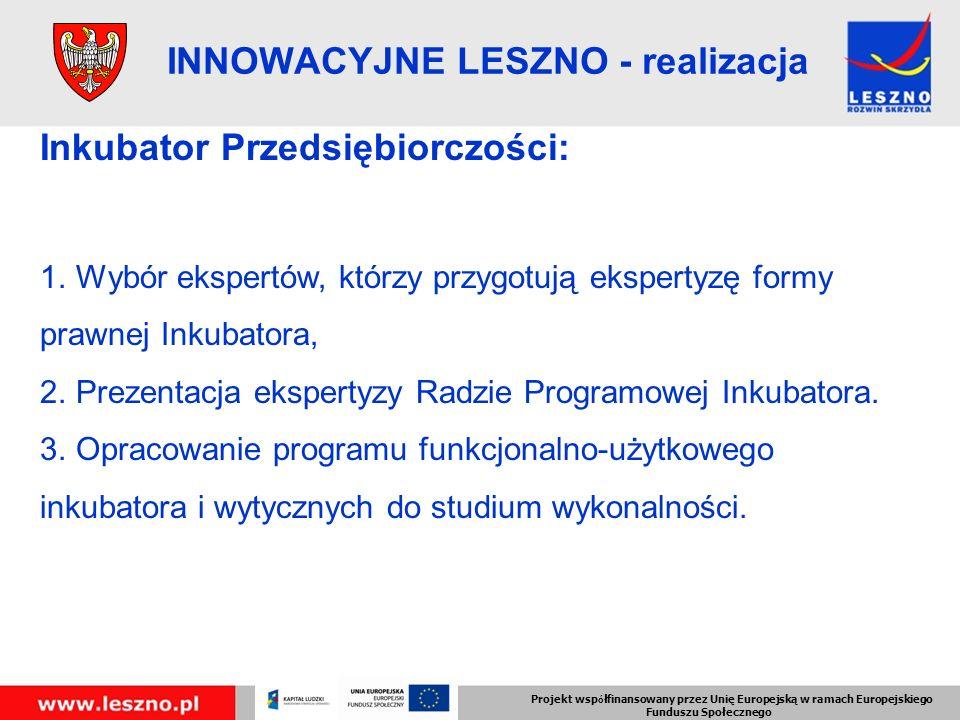 Projekt wsp ó łfinansowany przez Unię Europejską w ramach Europejskiego Funduszu Społecznego INNOWACYJNE LESZNO - realizacja Inkubator Przedsiębiorczości: 1.