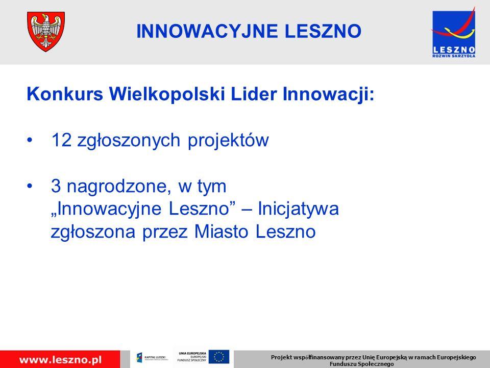 Konkurs Wielkopolski Lider Innowacji: 12 zgłoszonych projektów 3 nagrodzone, w tym Innowacyjne Leszno – Inicjatywa zgłoszona przez Miasto Leszno Projekt wsp ó łfinansowany przez Unię Europejską w ramach Europejskiego Funduszu Społecznego INNOWACYJNE LESZNO