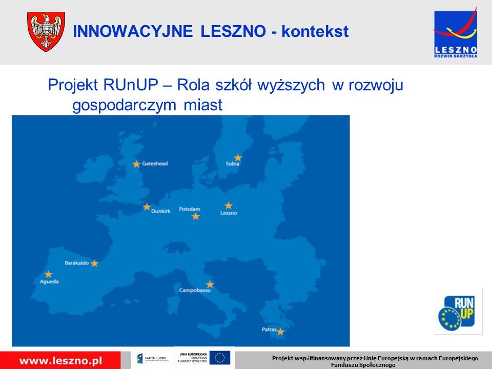 INNOWACYJNE LESZNO - kontekst Projekt RUnUP – Rola szkół wyższych w rozwoju gospodarczym miast Projekt wsp ó łfinansowany przez Unię Europejską w ramach Europejskiego Funduszu Społecznego
