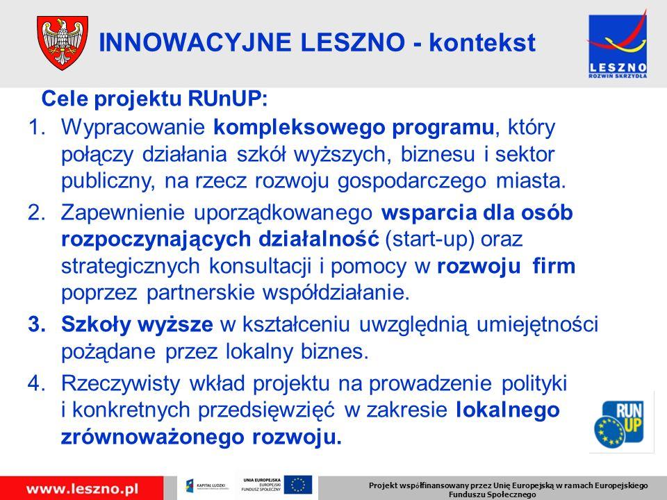 INNOWACYJNE LESZNO - kontekst Cele projektu RUnUP: 1.Wypracowanie kompleksowego programu, który połączy działania szkół wyższych, biznesu i sektor publiczny, na rzecz rozwoju gospodarczego miasta.