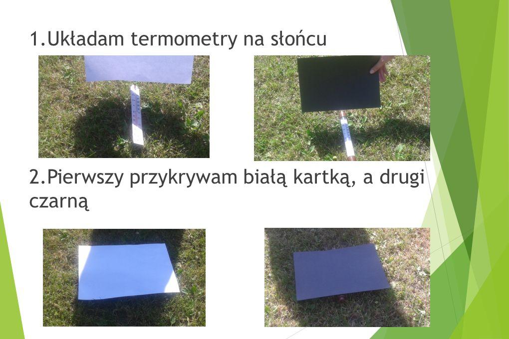 1.Układam termometry na słońcu 2.Pierwszy przykrywam białą kartką, a drugi czarną