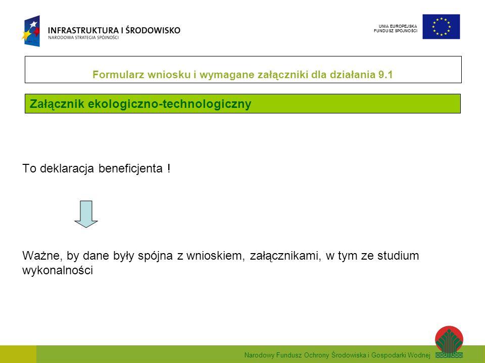 Narodowy Fundusz Ochrony Środowiska i Gospodarki Wodnej UNIA EUROPEJSKA FUNDUSZ SPÓJNOŚCI Załącznik ekologiczno-technologiczny Formularz wniosku i wym