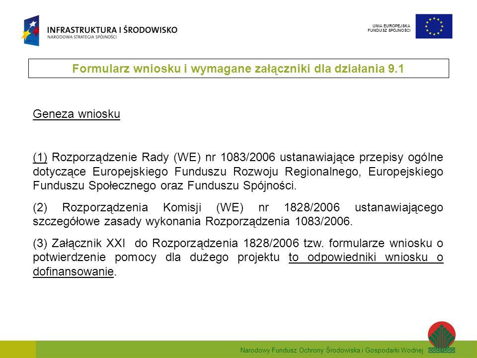 Narodowy Fundusz Ochrony Środowiska i Gospodarki Wodnej UNIA EUROPEJSKA FUNDUSZ SPÓJNOŚCI Geneza wniosku (1) Rozporządzenie Rady (WE) nr 1083/2006 ust