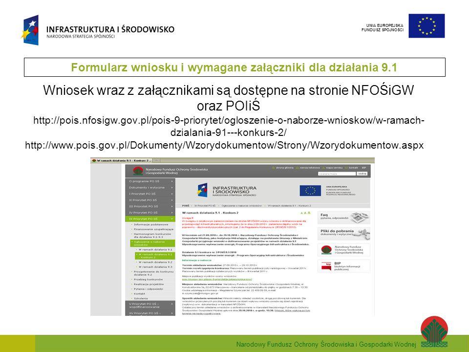 Narodowy Fundusz Ochrony Środowiska i Gospodarki Wodnej UNIA EUROPEJSKA FUNDUSZ SPÓJNOŚCI Wniosek wraz z załącznikami są dostępne na stronie NFOŚiGW o