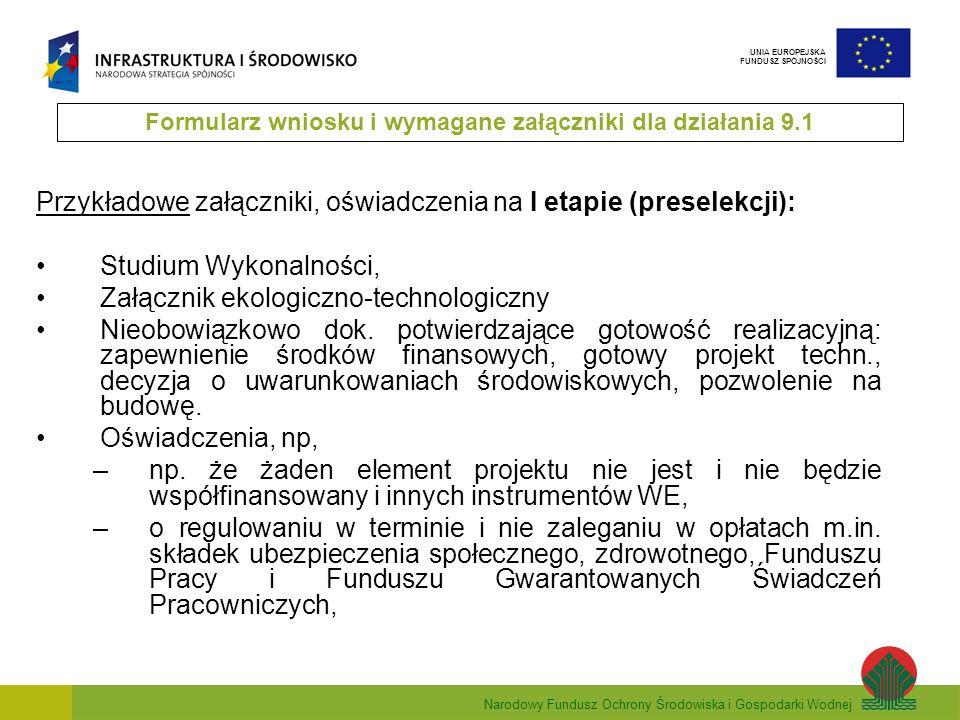 Narodowy Fundusz Ochrony Środowiska i Gospodarki Wodnej UNIA EUROPEJSKA FUNDUSZ SPÓJNOŚCI Przykładowe załączniki, oświadczenia na I etapie (preselekcj