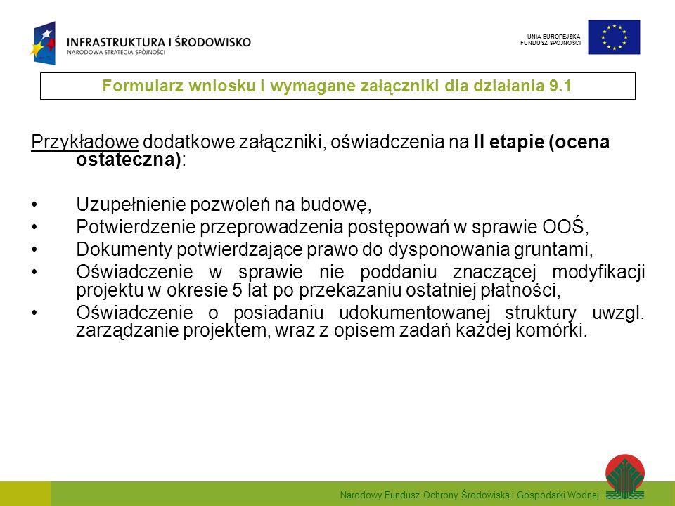 Narodowy Fundusz Ochrony Środowiska i Gospodarki Wodnej UNIA EUROPEJSKA FUNDUSZ SPÓJNOŚCI Zakres Studium wykonalności 1.Informacje o wnioskodawcy 2.Przedmiot studium wykonalności 3.Opis projektu/przedsięwzięcia 4.Opis istniejącego systemu 5.Analiza popytu 6.Definiowanie ostatecznego zakresu przedsięwzięcia sektora energetyki 7.Analiza opcji technicznych 8.Analiza oddziaływania na środowisko 9.Plan wdrożenia i eksploatacji projektu 10.Analiza finansowa 11.Analiza społeczno-ekonomiczna 12.Analiza ryzyka i wrażliwości 13.Streszczenie + prezentacja Formularz wniosku i wymagane załączniki dla działania 9.1