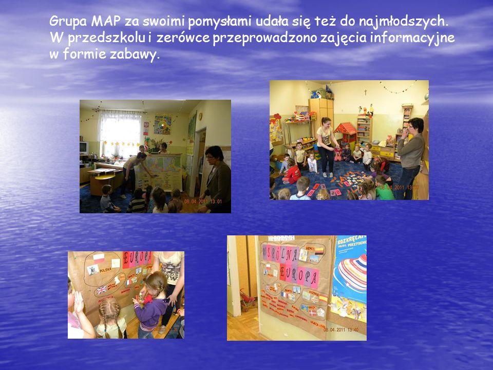 Grupa MAP za swoimi pomysłami udała się też do najmłodszych. W przedszkolu i zerówce przeprowadzono zajęcia informacyjne w formie zabawy.