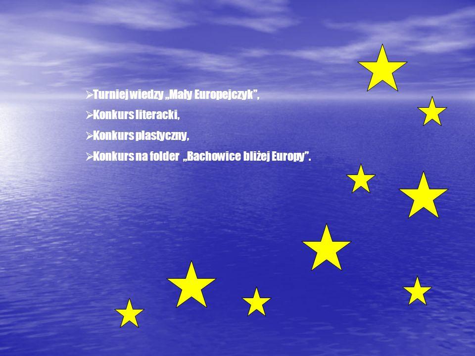 Turniej wiedzy Mały Europejczyk, Konkurs literacki, Konkurs plastyczny, Konkurs na folder Bachowice bliżej Europy.