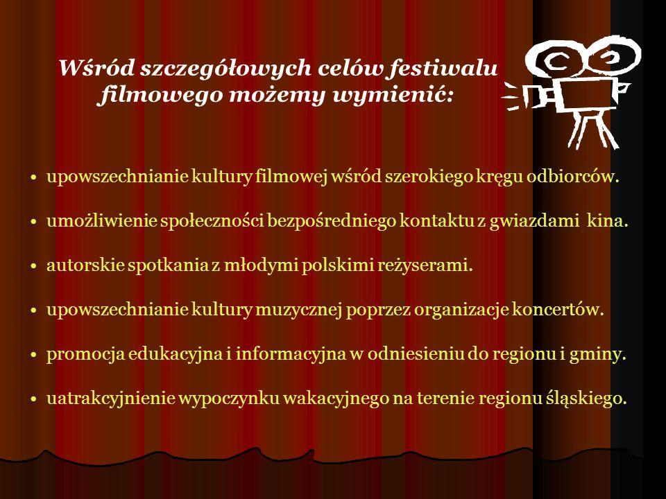 upowszechnianie kultury filmowej wśród szerokiego kręgu odbiorców. umożliwienie społeczności bezpośredniego kontaktu z gwiazdami kina. autorskie spotk