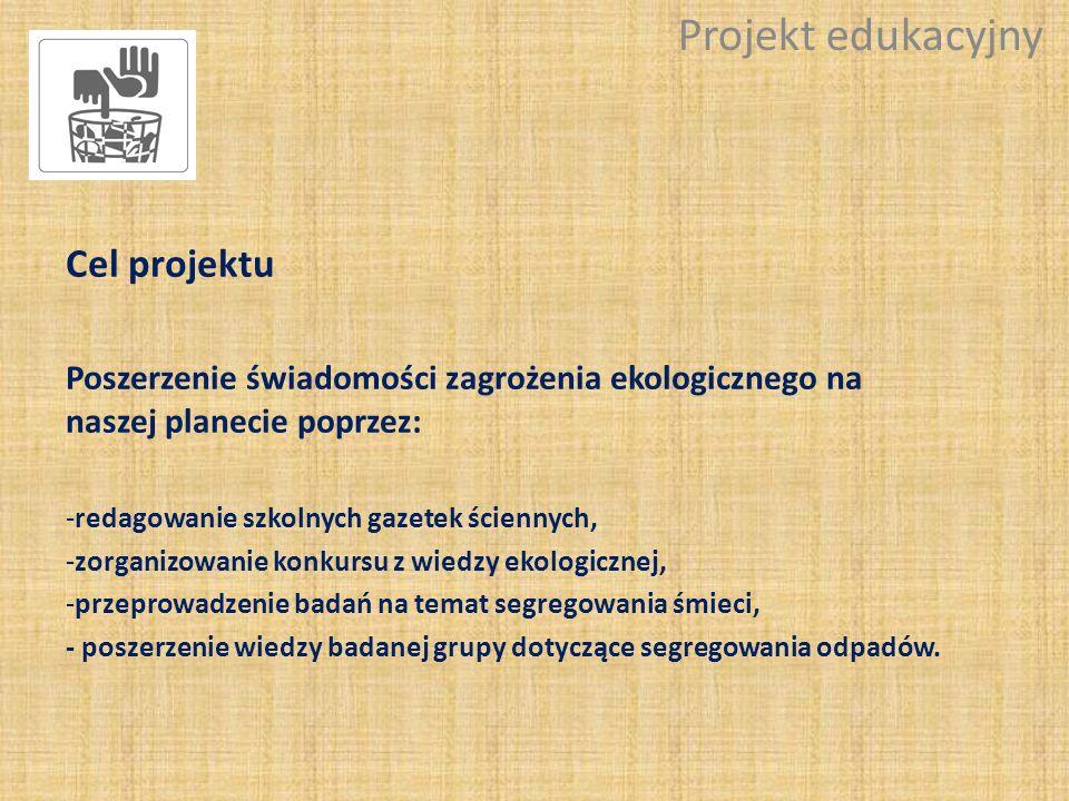 Cel projektu Poszerzenie świadomości zagrożenia ekologicznego na naszej planecie poprzez: -redagowanie szkolnych gazetek ściennych, -zorganizowanie ko