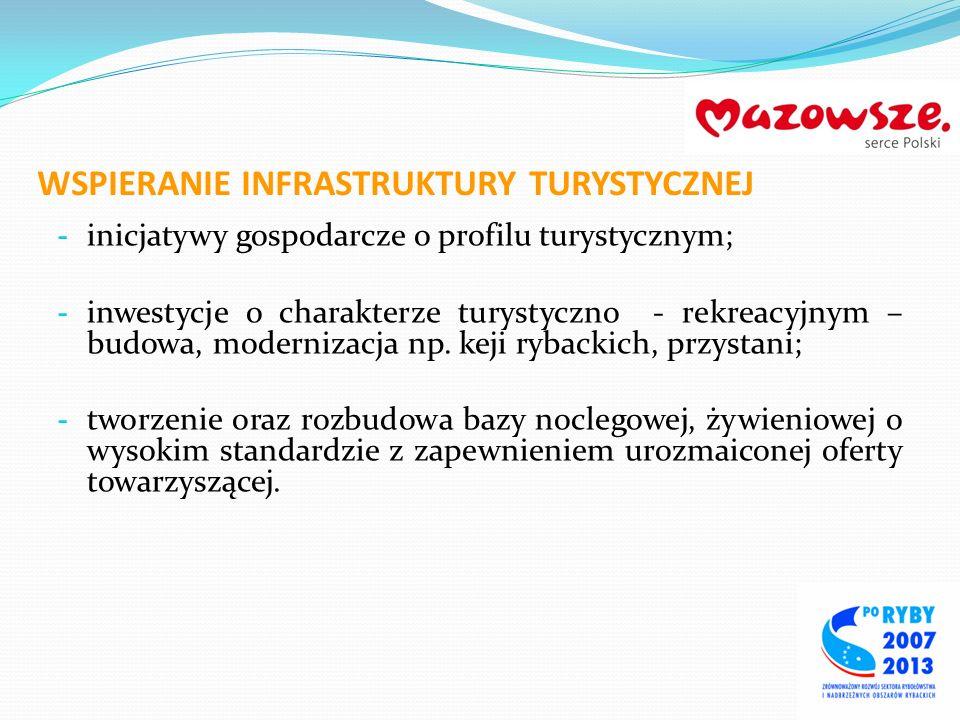 WSPIERANIE INFRASTRUKTURY TURYSTYCZNEJ - inicjatywy gospodarcze o profilu turystycznym; - inwestycje o charakterze turystyczno - rekreacyjnym – budowa