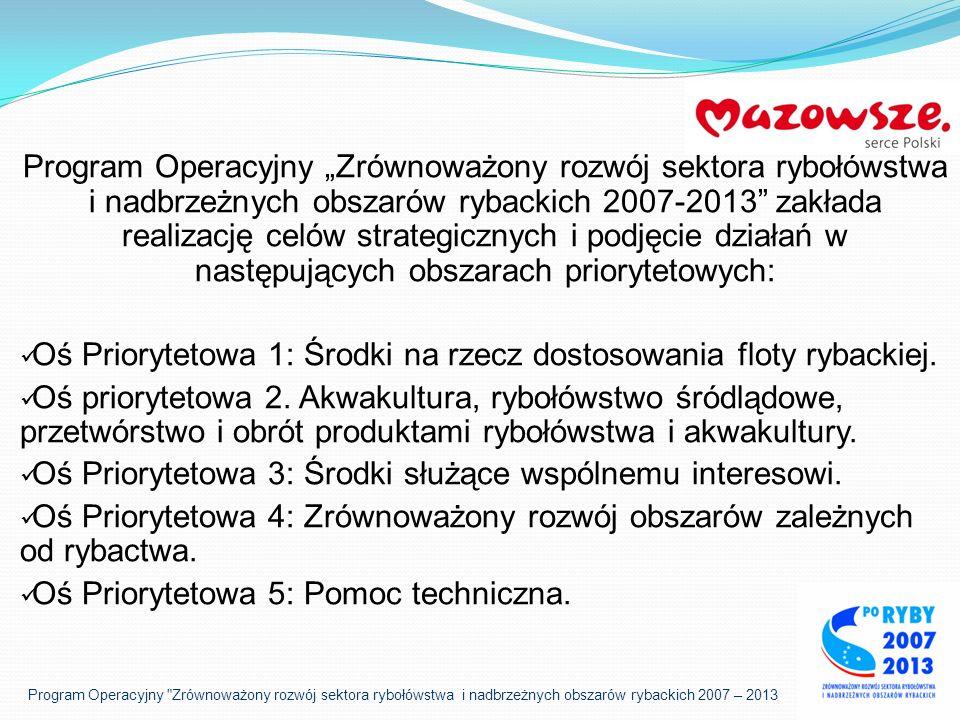 Program Operacyjny Zrównoważony rozwój sektora rybołówstwa i nadbrzeżnych obszarów rybackich 2007 – 2013 Oś Priorytetowa 4: Zrównoważony rozwój obszarów zależnych od rybactwa.