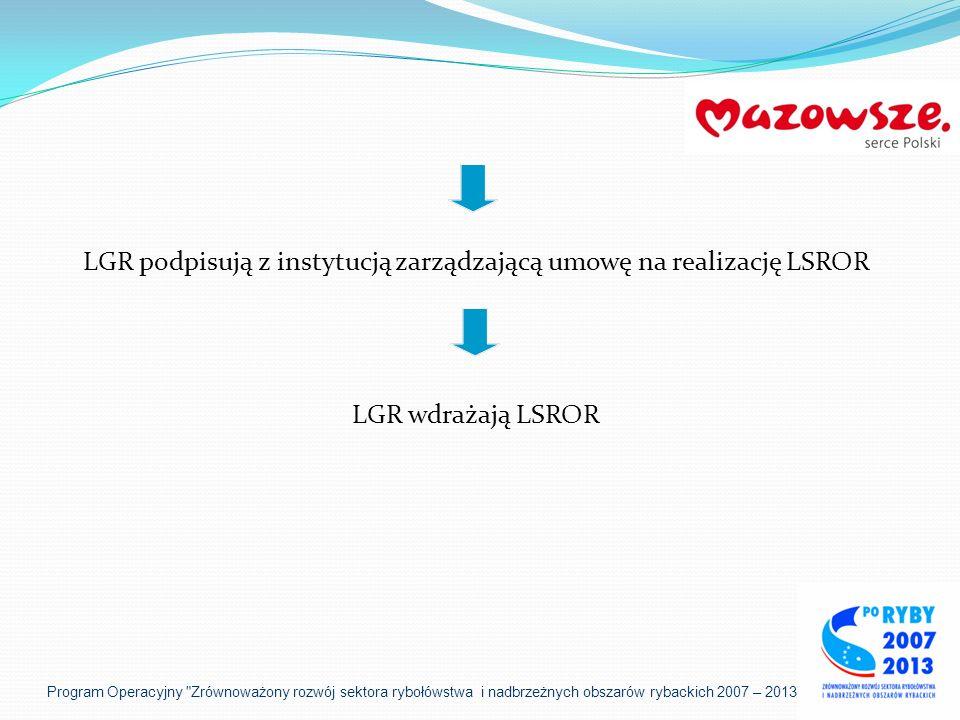 LGR podpisują z instytucją zarządzającą umowę na realizację LSROR LGR wdrażają LSROR Program Operacyjny