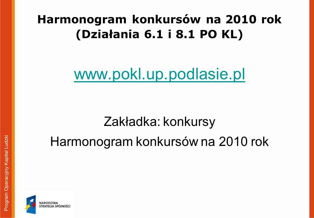 Harmonogram konkursów na 2010 rok (Działania 6.1 i 8.1 PO KL) www.pokl.up.podlasie.pl Zakładka: konkursy Harmonogram konkursów na 2010 rok