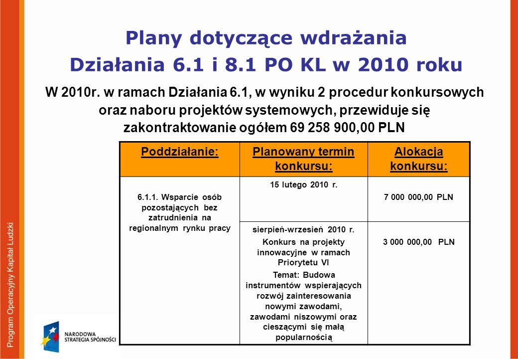 Plany dotyczące wdrażania Działania 6.1 i 8.1 PO KL w 2010 roku W 2010r.