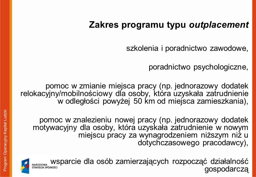 Zakres programu typu outplacement szkolenia i poradnictwo zawodowe, poradnictwo psychologiczne, pomoc w zmianie miejsca pracy (np.