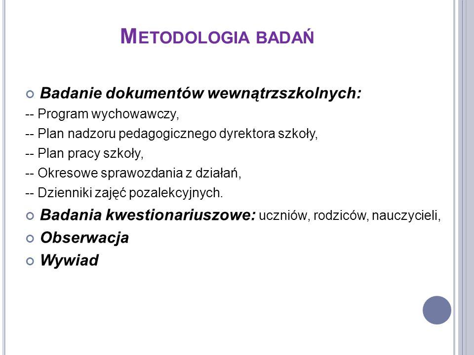 M ETODOLOGIA BADAŃ Badanie dokumentów wewnątrzszkolnych: -- Program wychowawczy, -- Plan nadzoru pedagogicznego dyrektora szkoły, -- Plan pracy szkoły