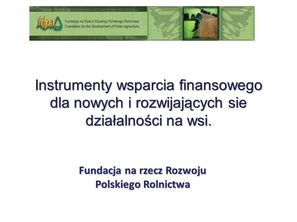 Fundacja na rzecz Rozwoju Polskiego Rolnictwa Instrumenty wsparcia finansowego dla nowych i rozwijających sie działalności na wsi.