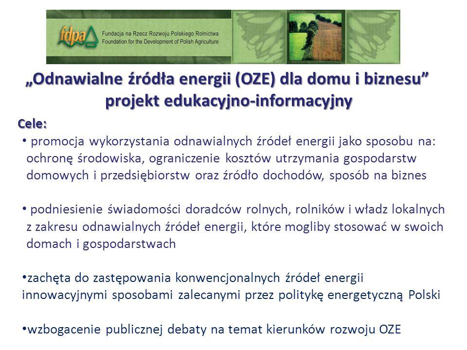 Odnawialne źródła energii (OZE) dla domu i biznesu projekt edukacyjno-informacyjny projekt edukacyjno-informacyjny Cele: promocja wykorzystania odnawialnych źródeł energii jako sposobu na: ochronę środowiska, ograniczenie kosztów utrzymania gospodarstw domowych i przedsiębiorstw oraz źródło dochodów, sposób na biznes podniesienie świadomości doradców rolnych, rolników i władz lokalnych z zakresu odnawialnych źródeł energii, które mogliby stosować w swoich domach i gospodarstwach zachęta do zastępowania konwencjonalnych źródeł energii innowacyjnymi sposobami zalecanymi przez politykę energetyczną Polski wzbogacenie publicznej debaty na temat kierunków rozwoju OZE