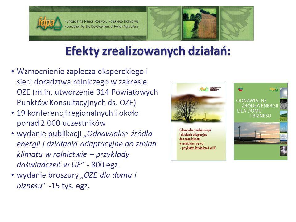 Efekty zrealizowanych działań: Wzmocnienie zaplecza eksperckiego i sieci doradztwa rolniczego w zakresie OZE (m.in.