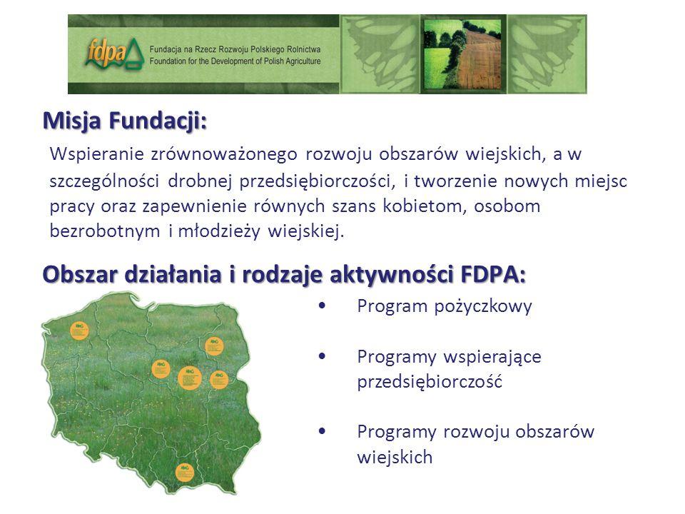 Obszar działania i rodzaje aktywności FDPA: Program pożyczkowy Programy wspierające przedsiębiorczość Programy rozwoju obszarów wiejskich Wspieranie zrównoważonego rozwoju obszarów wiejskich, a w szczególności drobnej przedsiębiorczości, i tworzenie nowych miejsc pracy oraz zapewnienie równych szans kobietom, osobom bezrobotnym i młodzieży wiejskiej.