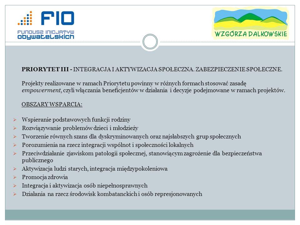 Integracja repatriantów w środowiskach lokalnych Integracja i aktywizacja zawodowa cudzoziemców Działania na rzecz zachowania przez Polonię więzi kulturowej z Polską Wypoczynek dzieci i młodzieży, krajoznawstwo i turystyka społeczna Inicjatywy na rzecz udzielania pomocy humanitarnej PRIORYTET IV – ROZWÓJ PRZEDSIĘBIORCZOŚCI SPOŁECZNEJ Projekty realizowane w ramach Priorytetu powinny w różnych formach promować ideę łączenia aktywności ekonomicznej (zawodowej) z aktywnością społeczną.