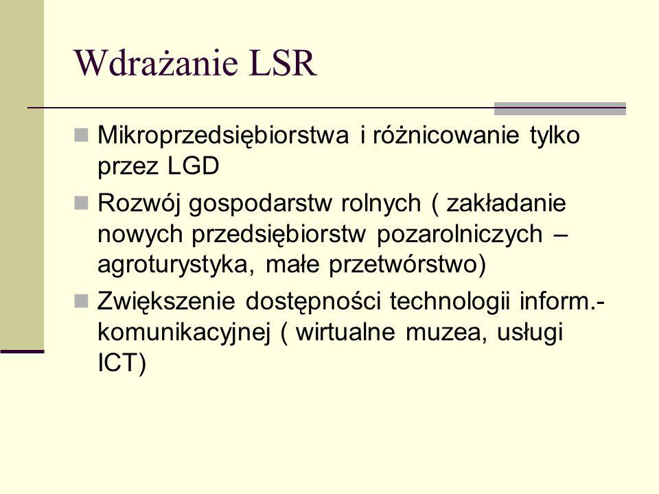 Wdrażanie LSR Mikroprzedsiębiorstwa i różnicowanie tylko przez LGD Rozwój gospodarstw rolnych ( zakładanie nowych przedsiębiorstw pozarolniczych – agr