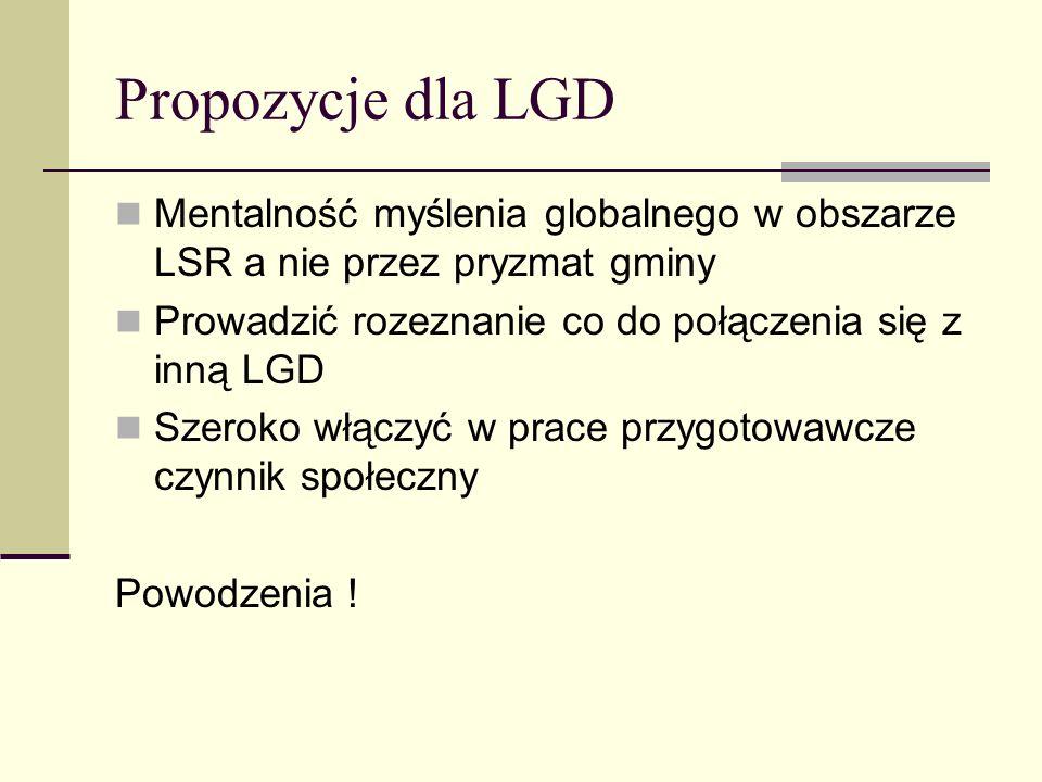 Propozycje dla LGD Mentalność myślenia globalnego w obszarze LSR a nie przez pryzmat gminy Prowadzić rozeznanie co do połączenia się z inną LGD Szerok
