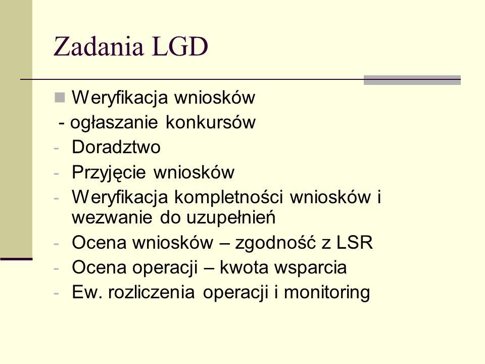 Zadania LGD Weryfikacja wniosków - ogłaszanie konkursów - Doradztwo - Przyjęcie wniosków - Weryfikacja kompletności wniosków i wezwanie do uzupełnień