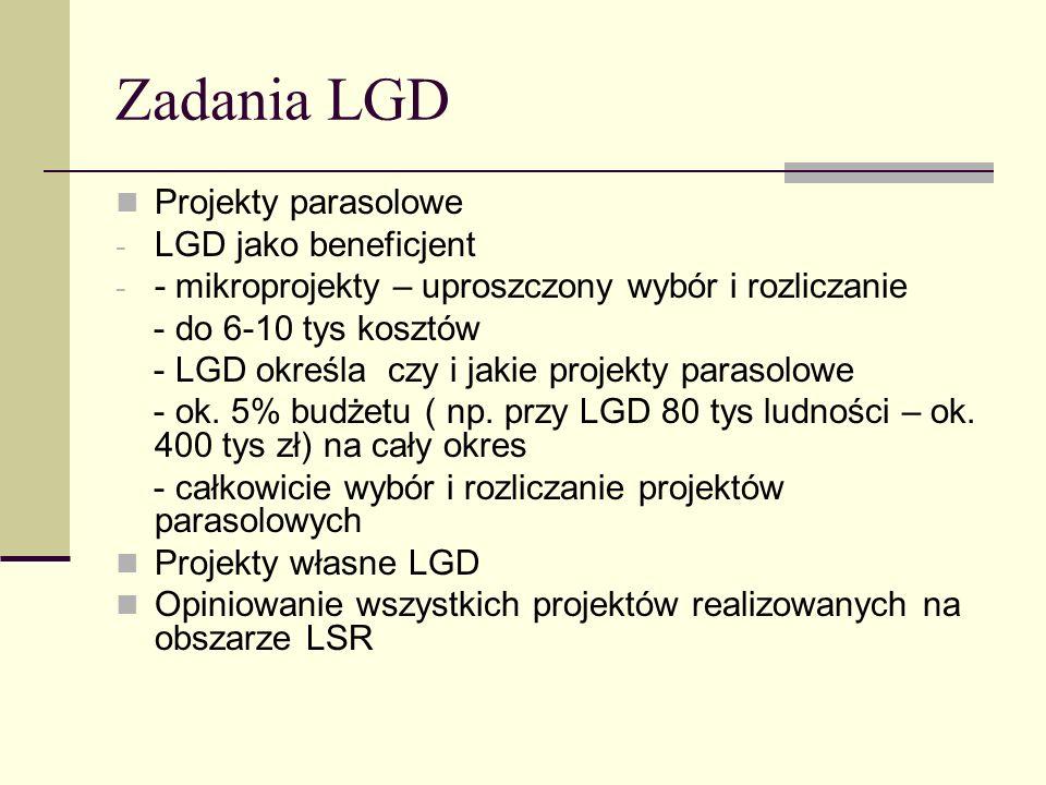 Zadania LGD Projekty parasolowe - LGD jako beneficjent - - mikroprojekty – uproszczony wybór i rozliczanie - do 6-10 tys kosztów - LGD określa czy i j