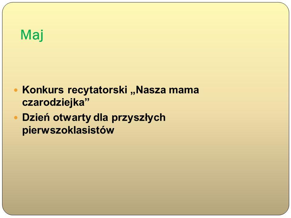 Maj Konkurs recytatorski Nasza mama czarodziejka Dzień otwarty dla przyszłych pierwszoklasistów