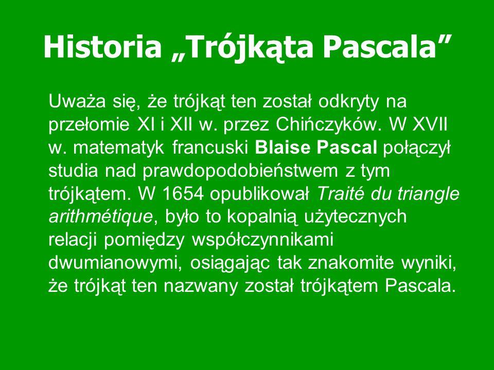 Zastosowanie Trójkąta Pascala Trójkąt Pascala stosuje się w programowaniu gier, wykorzystuje się go w spektroskopii i w rachunku prawdopodobieństwa.