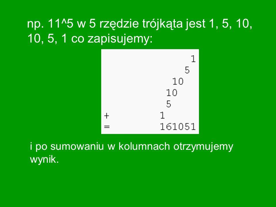 Własności Trójkąta Pascala Na skrajnych, bocznych (zerowych) rzędach trójkąta są jedynki.