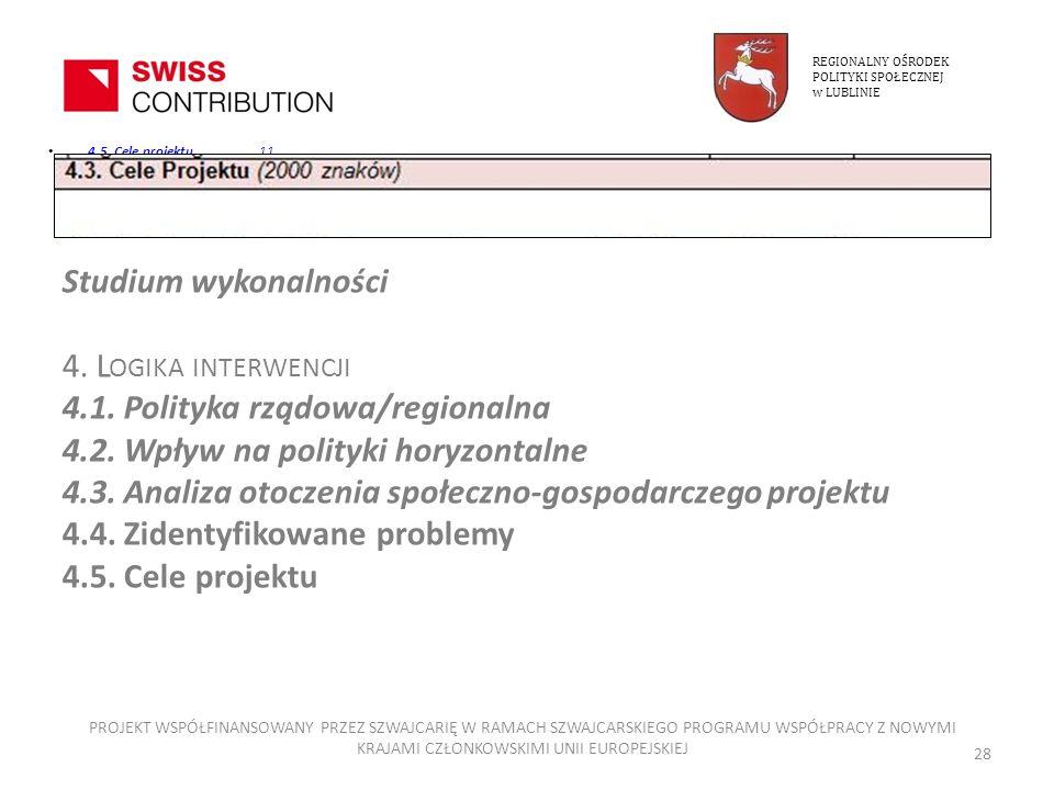4.5. Cele projektu11 4.5. Cele projektu11 REGIONALNY OŚRODEK POLITYKI SPOŁECZNEJ w LUBLINIE PROJEKT WSPÓŁFINANSOWANY PRZEZ SZWAJCARIĘ W RAMACH SZWAJCA