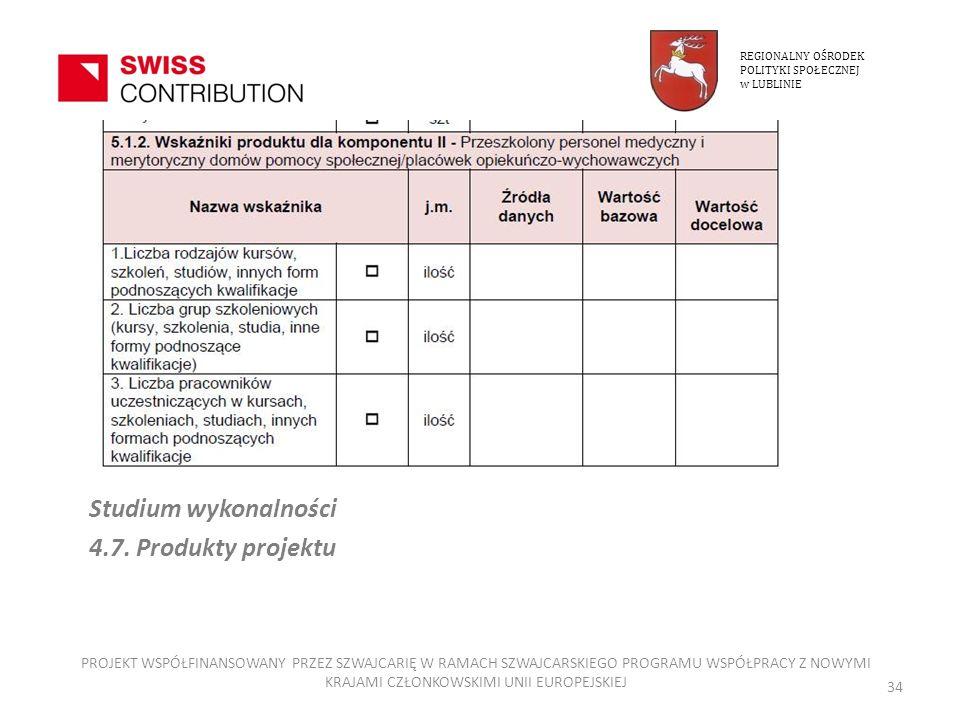 Studium wykonalności 4.7. Produkty projektu REGIONALNY OŚRODEK POLITYKI SPOŁECZNEJ w LUBLINIE PROJEKT WSPÓŁFINANSOWANY PRZEZ SZWAJCARIĘ W RAMACH SZWAJ