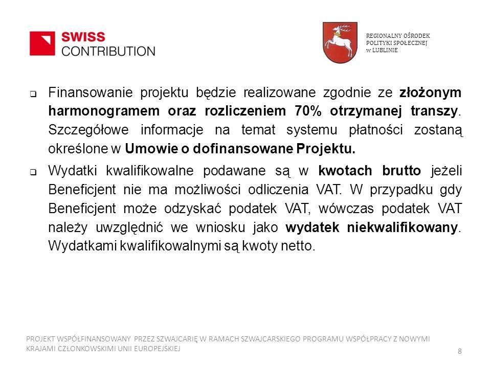 Umowa o dofinansowanie Przez okres realizacji Projektu rzeczy nabyte z udziałem środków pomocowych - powinny być wykorzystywane dla celów Projektu, zaś ich przeznaczenie nie może zostać zmienione bez uprzedniej pisemnej zgody Instytucji Realizującej, Instytucji Pośredniczącej, Krajowej Instytucji Koordynującej i strony szwajcarskiej.